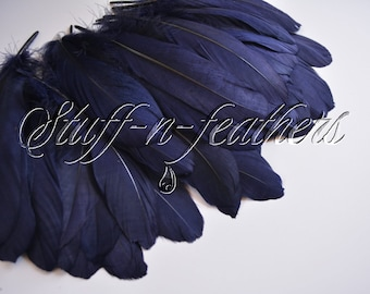 Wholesale / bulk feathers - Navy Blue GOOSE pallets feathers, loose feathers for millinery, wedding, crafts 60 pcs/ 5-8in (12.5-20cm)/ FB194