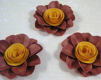 3 Scrapbook Flowers, Scrapbook embellishment, Cards, Decorating, Weddings,Banners