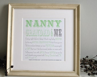 Personalised Grandparents Typography Print