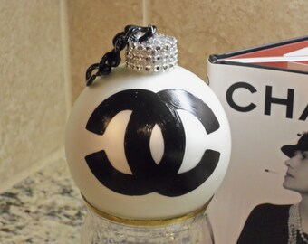 GORGEOUS Handmade French Inspired Style Black and White Rhinestone Christmas Tree Ornament