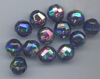 Six gorgeous and rare vintage West German glass beads - 12 mm montana blue with AB flash and longitudinal faceting