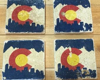 Set of 4 Colorado C City Scape Natural Stone Tile Coaster Handmade