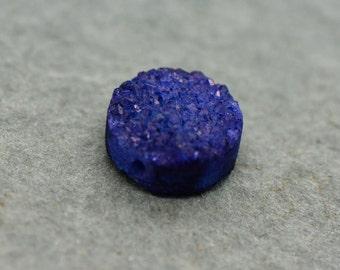 Medium BLUE Druzy Round Drop Bead - Cut Druzy Gemstone (AO015)