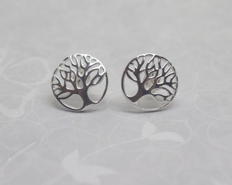 Silver Tree of Life Earrings - Solid Sterling Silver 925 Ear Studs