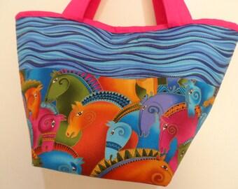 Laurel Burch Tote Bag - Handmade Tote  Bag - Horses Tote Bag - Quilted Bag - Laurel Burch Print - Handbag Tote Bag - Market Tote Bag