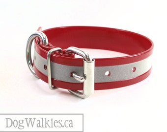 """Ruby Red // Reflective Biothane Dog Collar // Adjustable Buckle // Custom Size // 1""""- 25mm Wide // Translucent Red"""