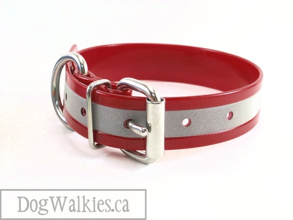 """Cherry Red // Reflective Biothane Dog Collar // Adjustable Buckle // Custom Size // 1""""- 25mm Wide // Translucent Red"""