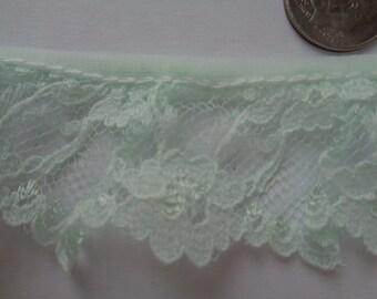 Light Pastel mint colored gathered English Lace - lace trim-Lingerie lace