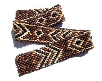 "VINTAGE: Tribal Heishi Beaded Coconut Elastic Trims - Native Trim - Ethnic Trim - Tribal Trim - 28"" - (16-B3-00004585)"