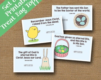 Easter treat bag toppers for kids christian easter easter scripture treat bag toppers cute christian easter goody bag labels diy printable negle Choice Image