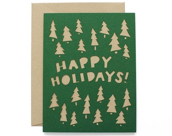 Happy Holidays Laser Cut Christmas Card