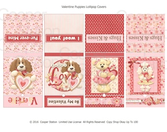 Printable Digital Valentine Lollipop Covers