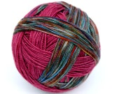 "Self Striping Sock Yarn, Superwash Merino and Nylon Fingering Weight, in ""Autumn in Amador"""