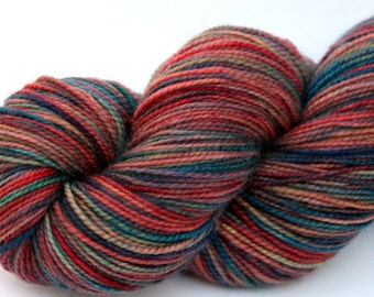 """Kettle Dyed Sock Yarn, Superwash Merino, Cashmere and Nylon Fingering Weight, in """"Watercolors in the Rain"""""""
