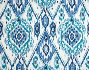 Teal, Blue and White Ikat Curtain Panels / Custom Drapery in Indoor/Outdoor Designer Fabric