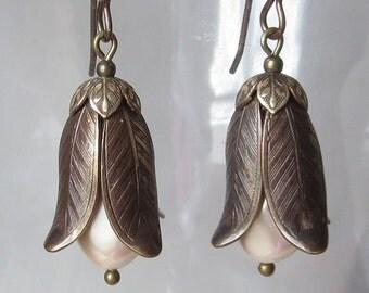 Magnolia Leaf and Bud Earrings