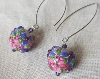 Purple and Pink Lampwork Glass Globe Earrings on Long Earwires