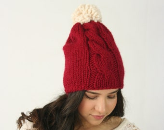 Slouchy Beanie Hat Chunky Knitted Hat With Cable Braid and Pom Pom THE THUNDERHEAD Slightly Slouchy Cranberry and Fisherman