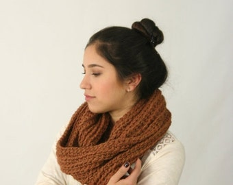 FLASH Sale Infinity Scarf Baby Alpaca Cowl Scarf Ribbed Crochet Scarf The London Brown Leather