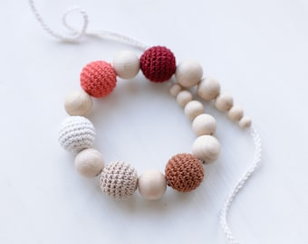 Nursing necklace / Teething necklace - Fall colors - Warm colors - Brown, Beige, Milk White, Coral, Wine Red