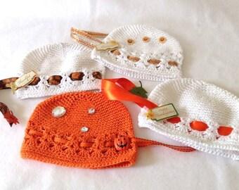 Thanksgiving-Fall Newborn Designer Kufi Hat ...Newborn size, Girl, Reborn Doll Hat.....Photo Prop, NurseryWear, Shower Gift,