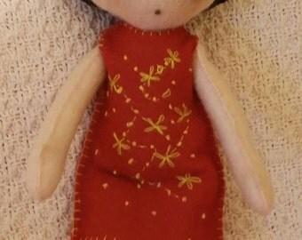 Handmade, handstitched felt doll