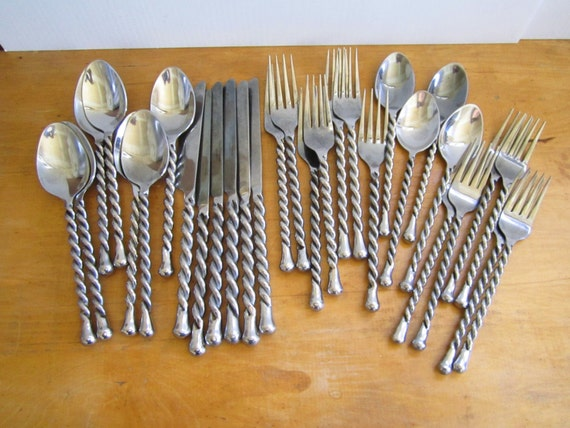 Vintage hampton silversmiths twisted handle stainless flatware - Twisted silverware ...