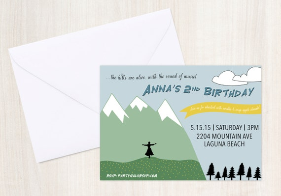 Sound of Music {inspired} Invite - Mountain Party Invitation - Party Supplies