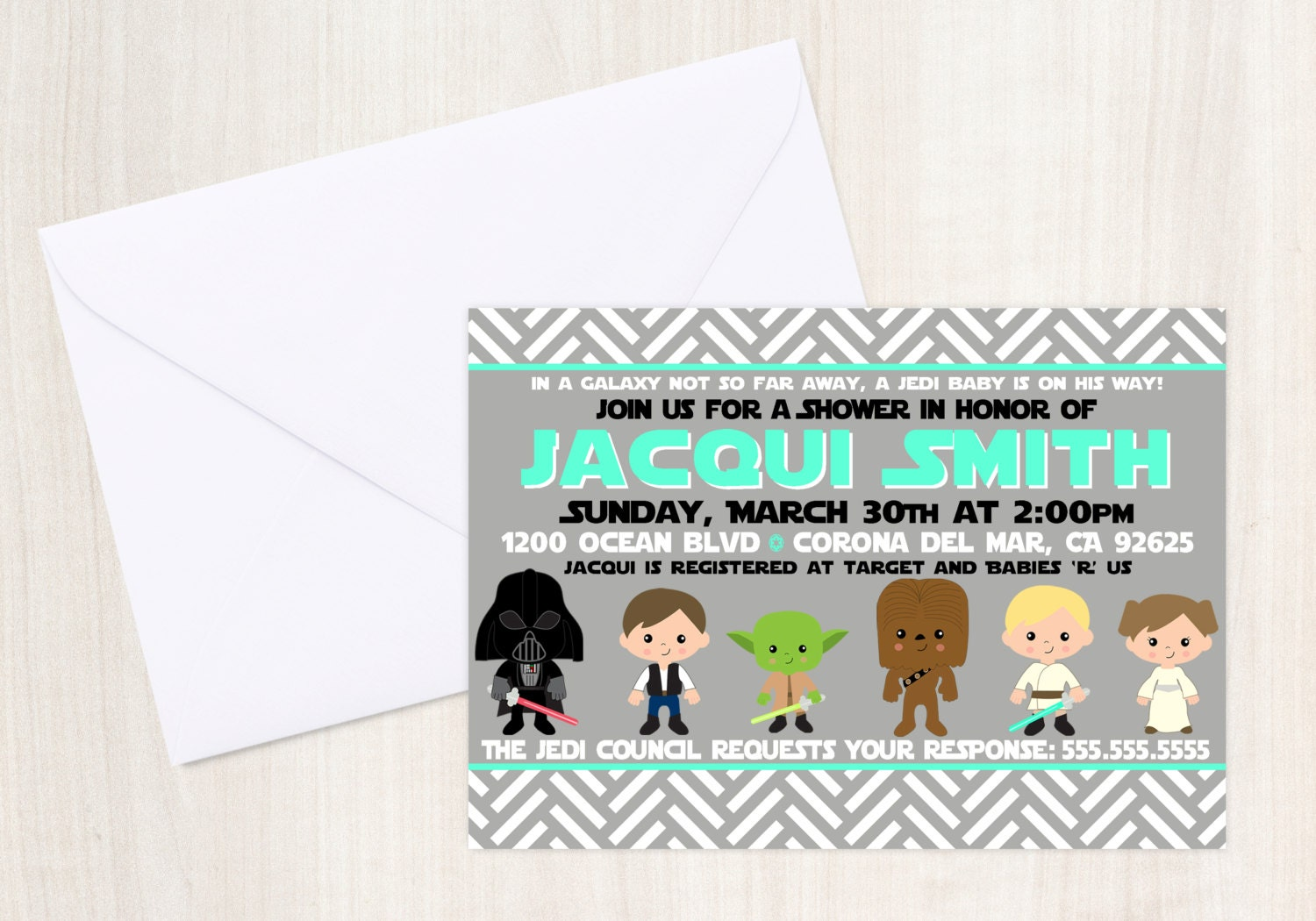 Star Wars Shower Custom Party Pack - Star Wars Party Invitation - Party Supplies
