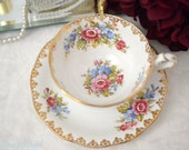 ON SALE Queen Anne Vintage Floral Teacup and Saucer Set, English Teacup, Mother's Day, Garden Party, ca. 1949