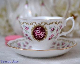 "Royal Albert Cameo Series ""Keepsake"" Teacup and Saucer, English Bone China, Wedding Gift, ca. 1969-1974"