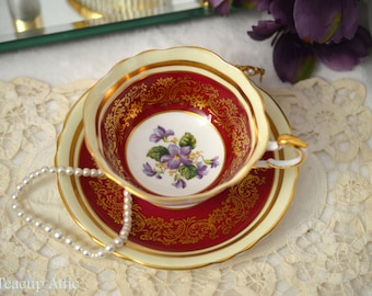 ON SALE Paragon Red And Gold Teacup and Saucer Set With Purple Violets, English Bone China Tea Cup Set, Cabinet Teacup,  ca. 1953