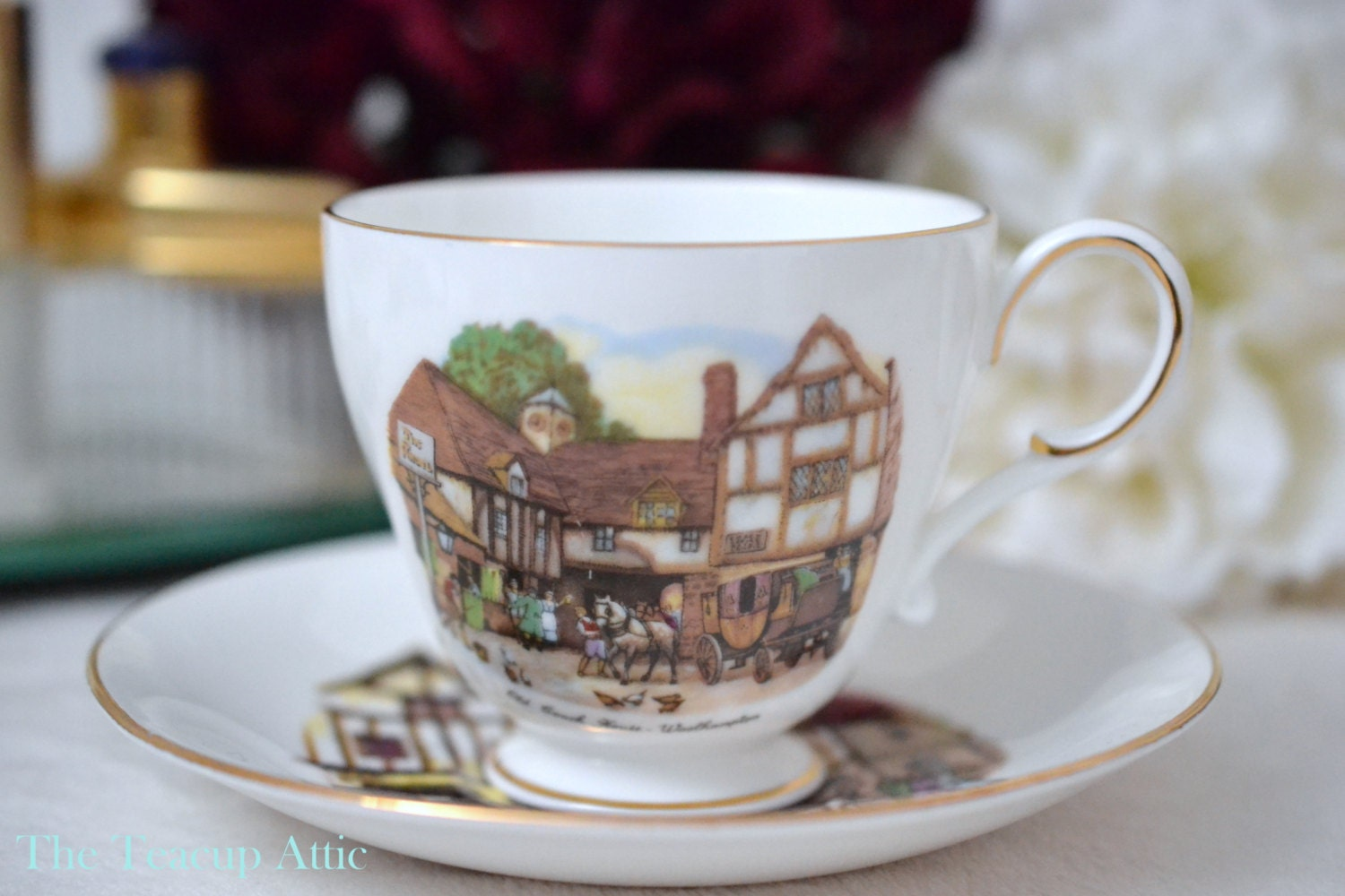 Roslyn Bone China English Teacup And Saucer Set The Old Coach House Woolhampton Pattern R49, English Bone China Tea Cup Set,  ca. 1950-1960