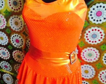 Vintage Bright Orange Metallic Skirted Leotard Dance Costume with Gemstone Accents. Majorette, Tap, Jazz, Pumpkin, Candy Corn, Circus. Adult