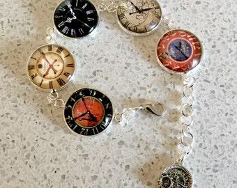 Steampunk Clockfaces Link Silvertone Bracelet
