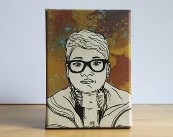 Jean Grae Collage Canvas - Original Artwork Spraypaint/Pen and Ink