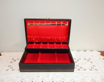 Vintage Jewelry Box Red Velvet Interior Mid Century  Black Jewelry  Gift For Her or Him