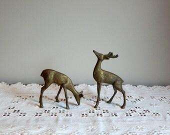 Vintage Brass Deer Figurines Statue Doe and Buck Woodland Animal Mid Century Home Decor