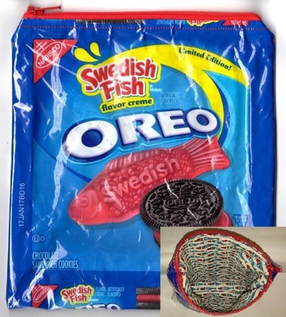 Limited edition oreo swedish fish upcycled zippered bag for Swedish fish oreos