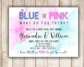 Gender Reveal Invitation, Blue or Pink Gender Reveal Invitation Water Color DIY - Digital OR Printed