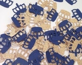 Prince Gold Crown Confetti | Navy and Gold Party | Little Prince Party | 1st Happy Birthday Decor | Gold Glitter Crown | Navy Crown Confetti