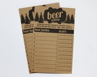 Printable Winter Christmas Beer Tasting Score Cards- Instant Download