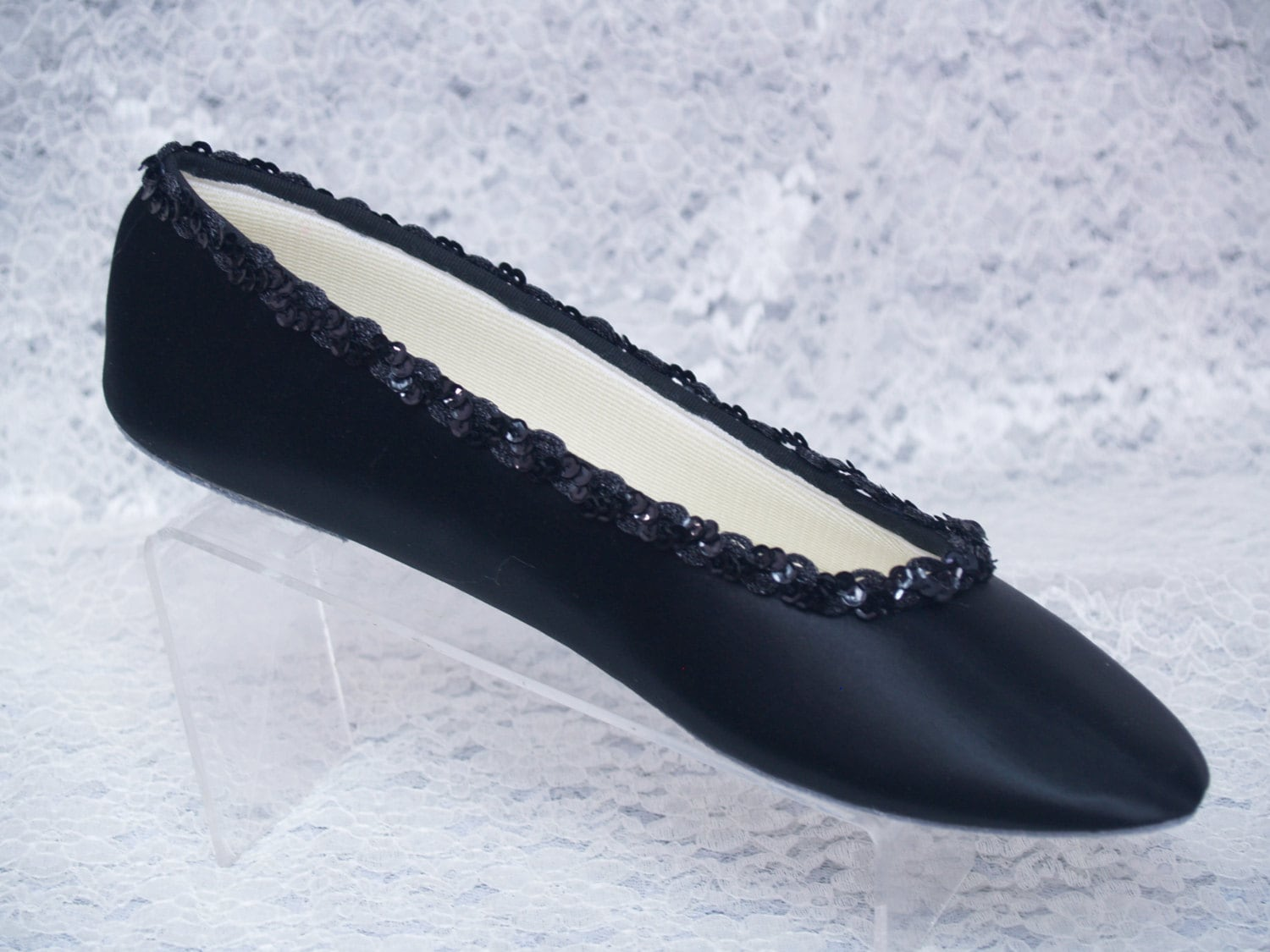 brides wedding black satin ballet style flat slipper w sequins