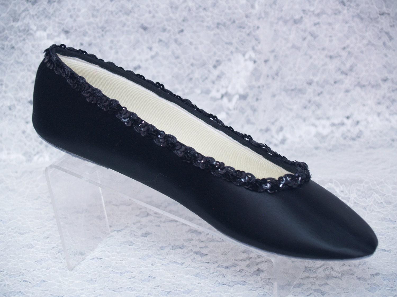 brides wedding black satin ballet style flat slipper w sequins
