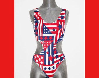 American FLAG Swimsuit Retro Bathing Suit Print One Piece Swim Suit