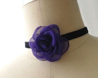 Statement Necklace Choker Black Velvet Royal Purple Rose Flower Handmade Punk Rock , goth gothic Lolita cute steampunk