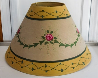 Handmade Shabby Lamp Shade Floral Print on Paper Over Plastic Form Coolie Style