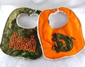 Camo Monogrammed Personalized Bibs Gift Set of 2 Embroidered Newborn Boy Chenille Baby Bibs - Added Name Embroidery
