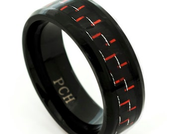 Men's Titanium Ring, Wedding Band with Black and Red Carbon Fiber 8MM Comfort Fit