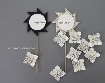 2 wedding cake toppers || anniversary cake toppers | pinwheel cake toppers | black & book -we protect each other